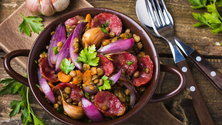 Gourmet Sausages with Puy Lentil