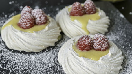 Hazelnut Pavlova with Summer Berries & Lemon Curd