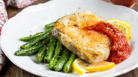Baked Cod with French Beans, Sweet Mustard & Tomato Salsa