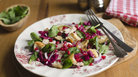 Roasted Chicken and Buckwheat Salad with a Pomegranate Molasses Vinaigrette