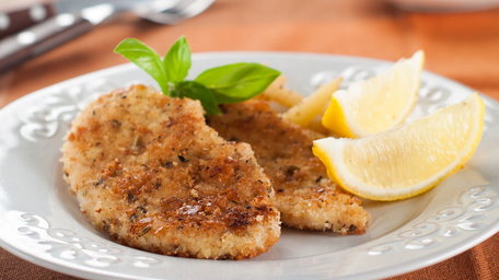 Chicken Escalopes with a Herb and Parmesan Crumb and Anchovy and Lemon Dressing