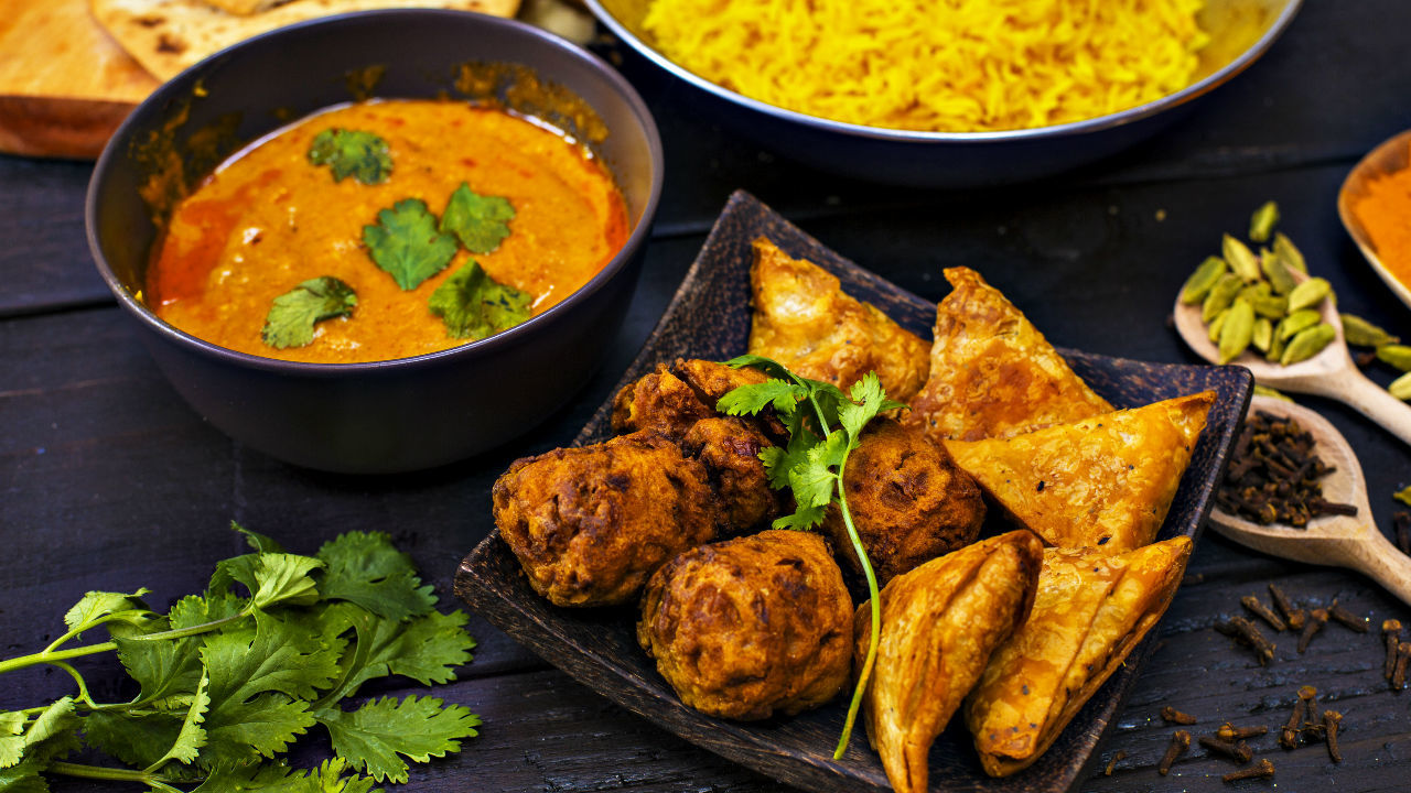 Indian Chicken Curry with Sweet Potato Bhajis