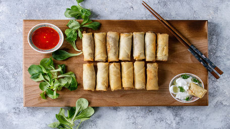 Smokey Bacon and Cabbage Spring Rolls with Soy Ginger Sauce