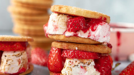 Strawberry S'mores with Fruit Puree
