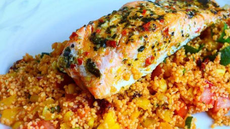 Baked Salmon With Moroccan Couscous And Salsa Dressing