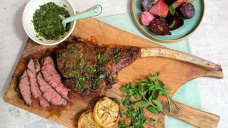 Grilled Ribeye Steak, Fire Roasted Beetroot And Board Dressing