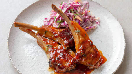 Baked Sticky Lamb Cutlets with Red Cabbage Slaw