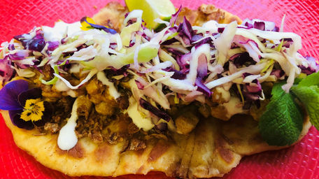 Spiced Chicken with Roti & Pickled Cabbage