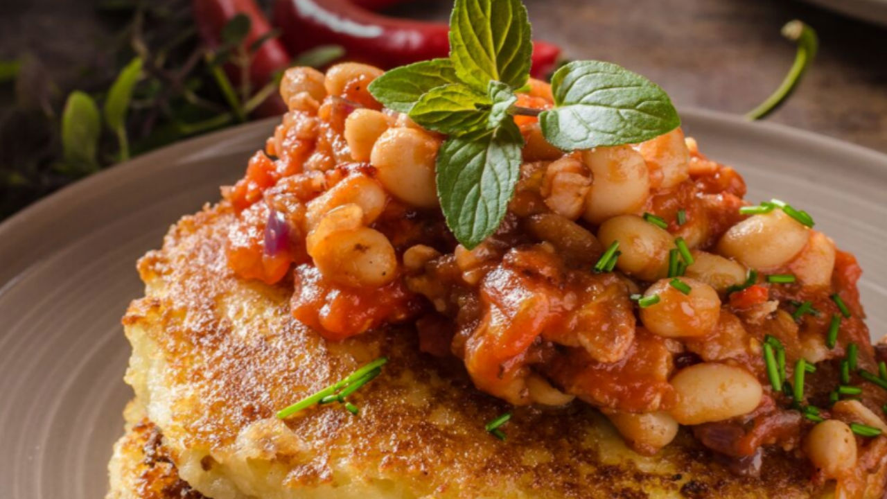Fluffy Potato Cakes With Bachelor's Spanish Style Beans