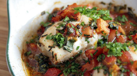 Baked Cod with Vegetables and Harissa Tomato Sauce