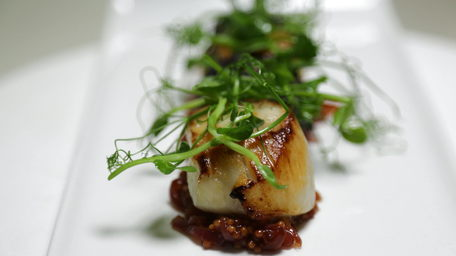 Seared Scallops, Kelly's Black Pudding with Red Onion Relish