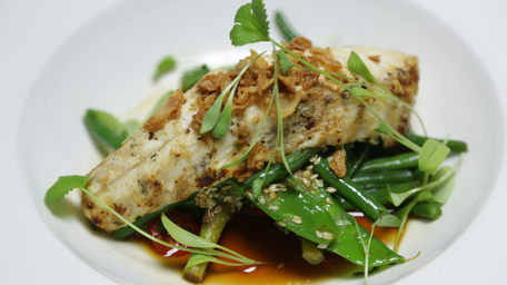 Grilled Monkfish with Stir-Fried Asian Greens & Asian Dressing