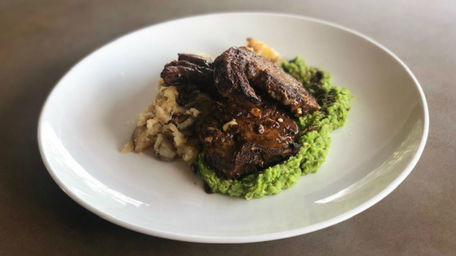 Tikka Lamb Chops with Smashed Potatoes & Chunky Cumin Pea Puree