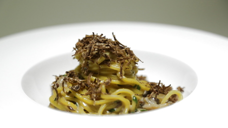 Fresh Pasta with Wild Mushrooms & Fresh Bianchetti Spring White Truffles