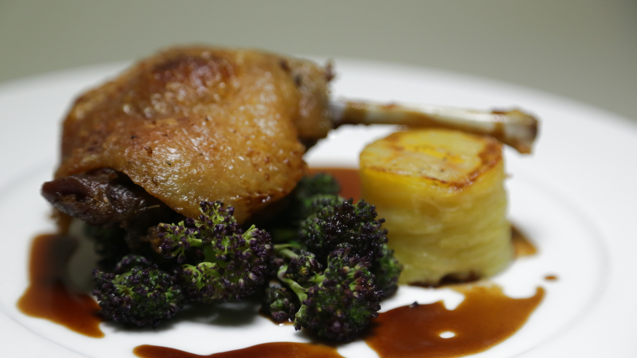 Thornhill Duck Confit with Gratin Dauphinoise & Irish Purple Sprouting Broccoli