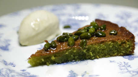 Pistachio & Almond Cake with Lemon Drizzle & Vanilla Ice Cream