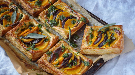 Sage and Butternut Squash Tarts with Salsa Verde