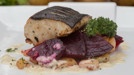 Roast Cod, Beetroot, Bacon & Black Pudding Dressing with Horseradish Cream