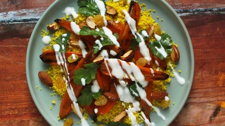 Curried Roast Carrot Couscous, Grilled Halloumi, Almonds & Sultanas