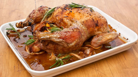 Whole Roasted Chicken with Chorizo Stuffing
