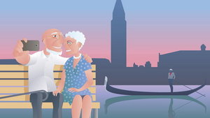 Old people travel to Italy, Venice vector illustration