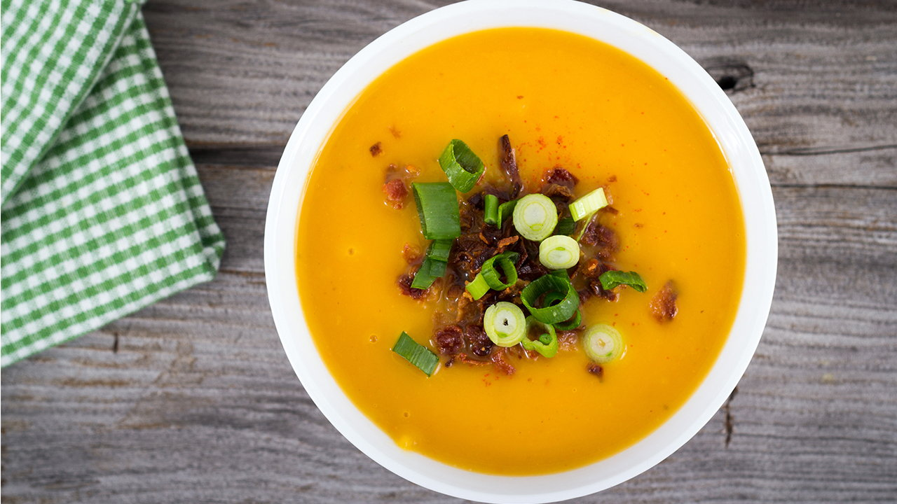 Roasted Butternut Squash and Smoked Bacon Soup