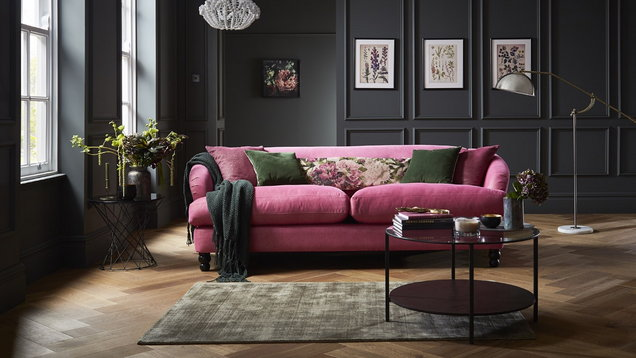 Fliss 4 seater sofa in pink and plum combination from £1,998, DFS