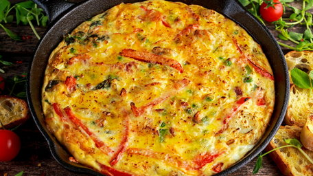 Bacon, cheese and potato frittata