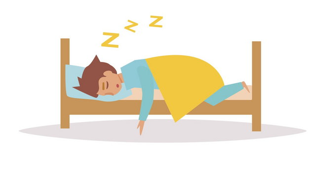 Man sleeping in bed. Vector