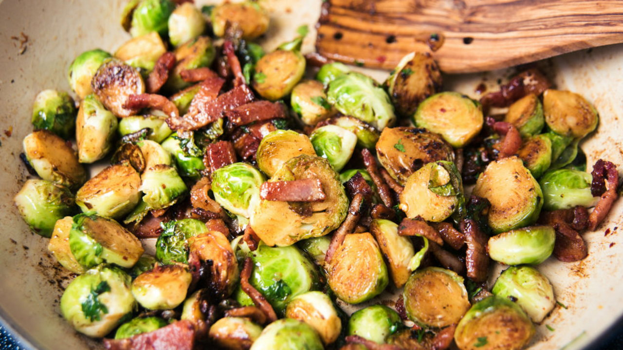 Pan-Fried Brussel Sprouts with Pancetta, Cranberries and Chesnuts
