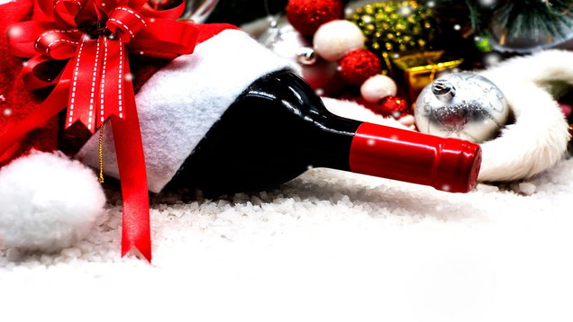 Bottle of festive red wine