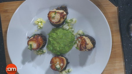 Seared Scallops, Pea & Mint Puree, Black Pudding and Apple Salad