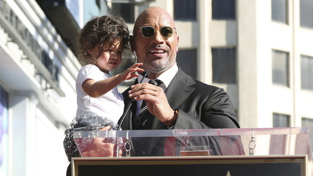 Dwayne Johnson brought his baby daughter to the stage