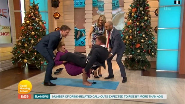 Kate Garraway and Richard Arnold tumble to floor during funny GMB stunt (ITV grab)