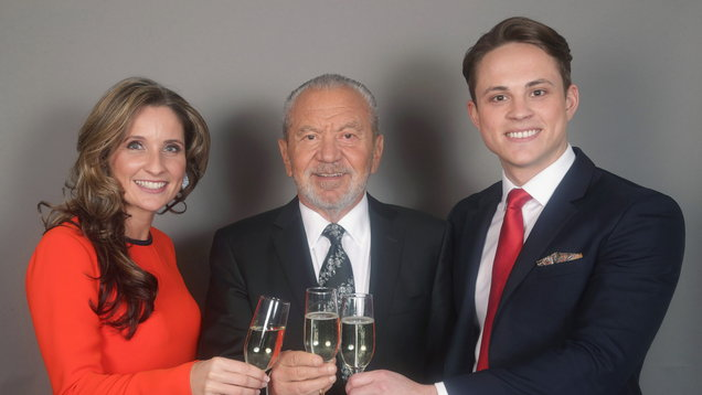 Lord Sugar (centre) with James White and Sarah Lynn
