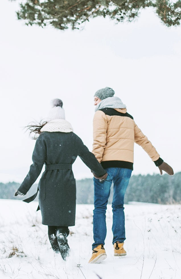young couple walking winter