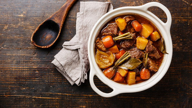 Beef meat stewed with vegetables
