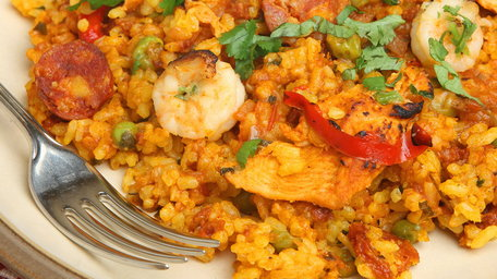 Quick Chicken, Chorizo and Prawn Spanish Rice