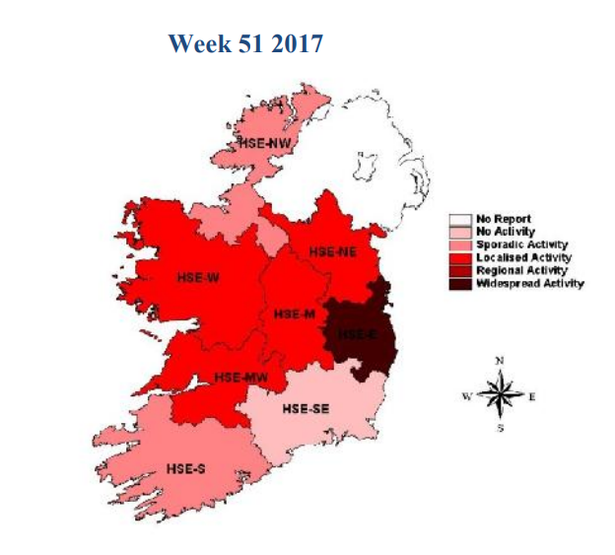 Show Map Of Ireland.Pic Map Of Ireland Shows Areas Worst Hit By Deadly Aussie Flu Virus