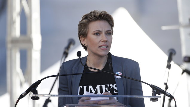 Scarlett Johansson speaks at a Women's