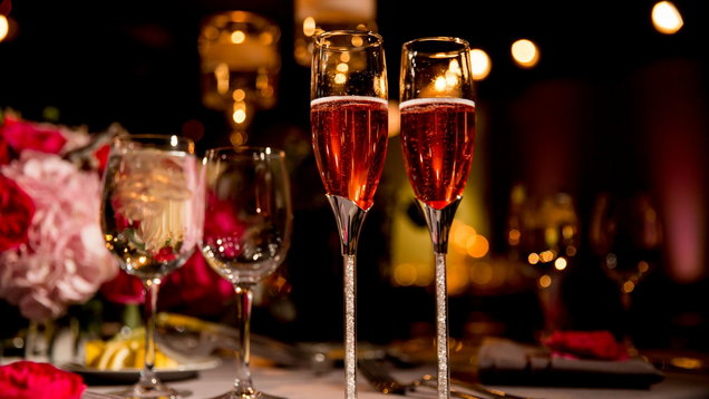 Two Flutes of Rose Champagne