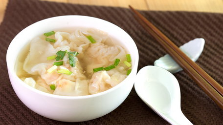 Wonton soup with green pak choi