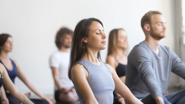 Group of young sporty people meditating in Padmasana pose