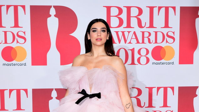 Dua Lipa at the Brit Awards at the O2 Arena, London