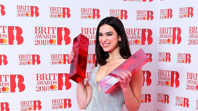 Dua Lipa with her awards for Best British Female Solo Artist and Breakthrough Act at the Brit Awards