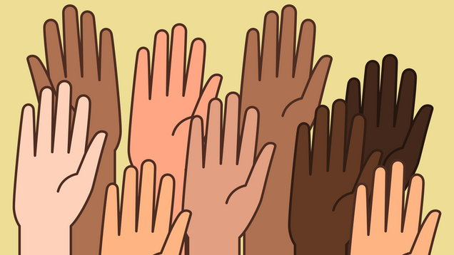 Raised Hands Illustrations for Volunteering Concept