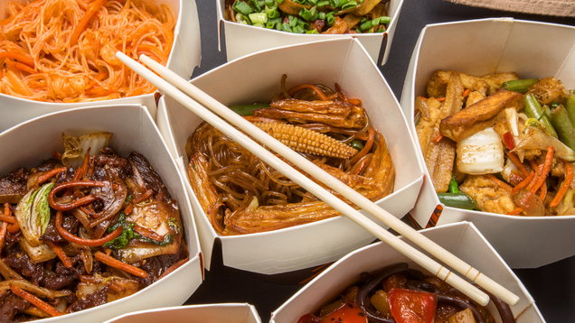 Chinese food in different cardboard boxes