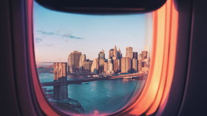 Sunset Air Plane View of New York City