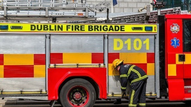 Fire Blazes From Upper Stories of Dublin Hotel