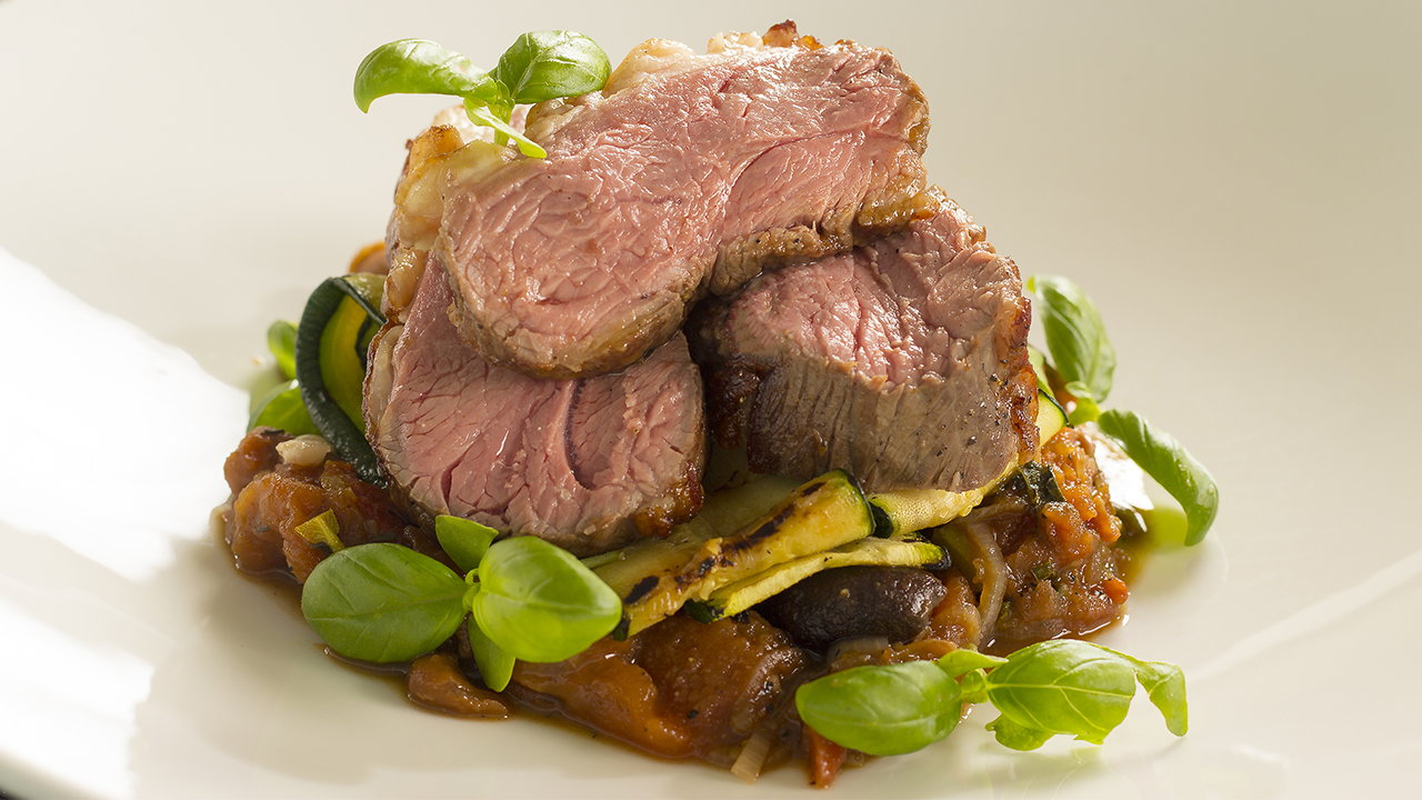 Irish Lamb Rump with Wild Garlic, Pea Puree, Broad Beans